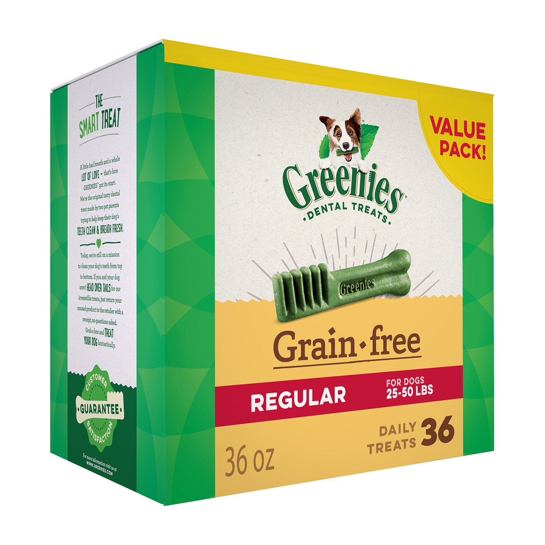 GREENIES Grain Free Regular Natural Dog Dental Care Chews Oral Health Dog Treats, 36 oz. Pack (36 Treats) by Greenies