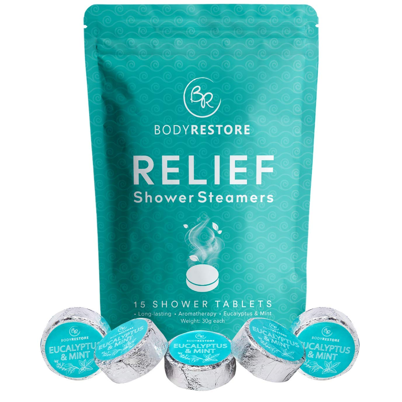 BodyRestore Shower Steamers (Pack of 15) Gifts for Women and Men - Eucalyptus & Peppermint Essential Oil Scented Aromatherapy Shower Bomb, Nasal Congestion Relief Shower Tablets