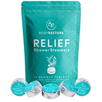 Essential Oil Shower Steamer Set, 15 Mint and Eucalyptus Scented Aromatherapy Shower Steamers 30g, Vapor Steam Tablets, Relaxation Gifts for Women, Body Restore