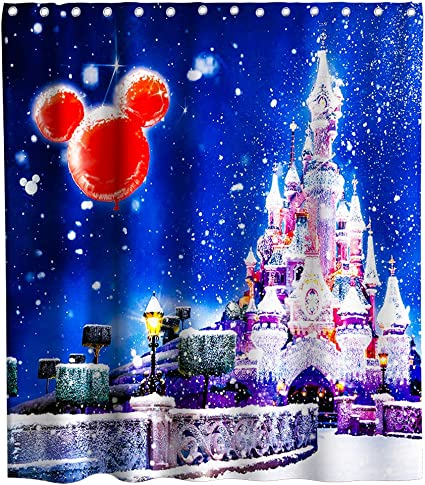 Final Friday Disney Shower Curtains Dreamlike Castle Fireworks Shooting Stars Theme Fabric Bathroom Decor Sets with Hooks Waterproof Washable 70 x 70 inches Blue Golden and Pink