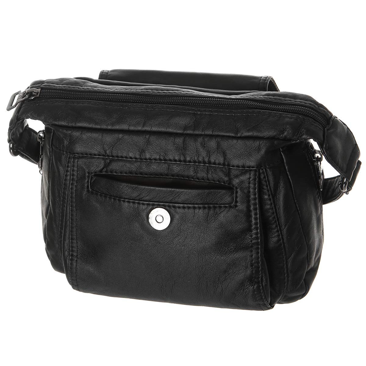e4fece34fcd5 Women Multi Classify Pockets Medium Crossbody Purse Soft Synthetic Leather  Shoulder Bag(Black)  Handbags  Amazon.com