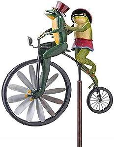 VAHIGCY Metal Wind Spinner with Standing Vintage Bicycle,Bicycle Spinner Garden Stake,Spinner Bike Spinner Mental Garden Decoration