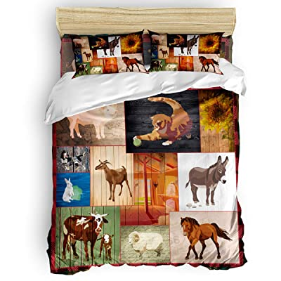 ZOE GARDEN 4 Pcs Duvet Cover Teen Bedding Sets Full Size - Vintage Farm Animals Wood Grain Texture - 4 Piece Comforter Cover Set with 1 Duvet Cover 1 Flat Sheet and 2 Pillow Shams: Home & Kitchen