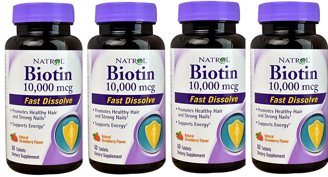 Biotin 10,000mcg Fast Dissolve, Pack of 4 by Natrol