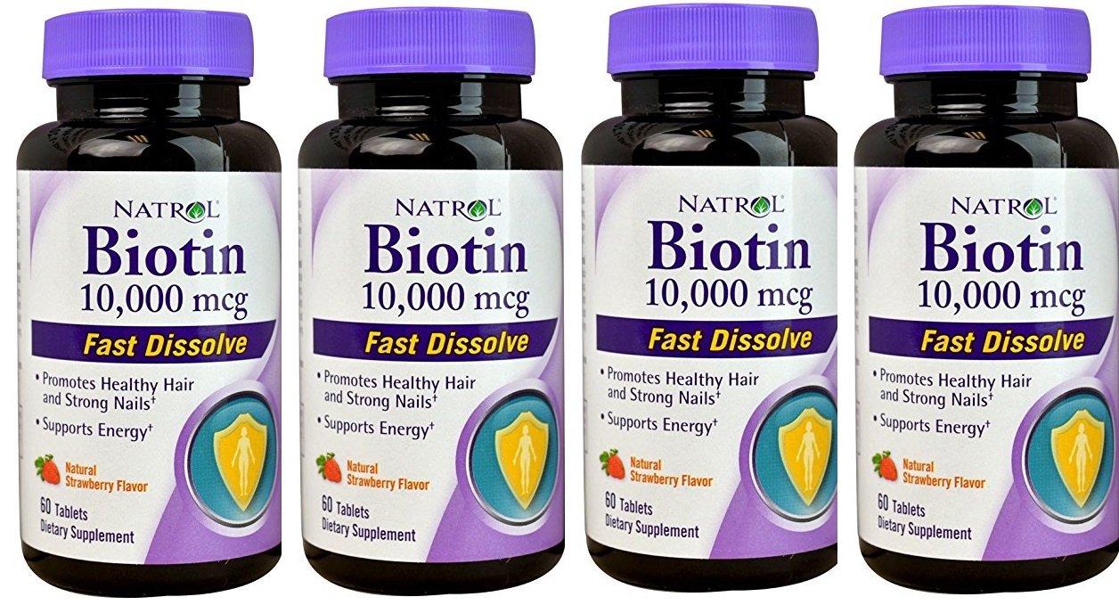 Biotin 10,000mcg Fast Dissolve, Pack of 4