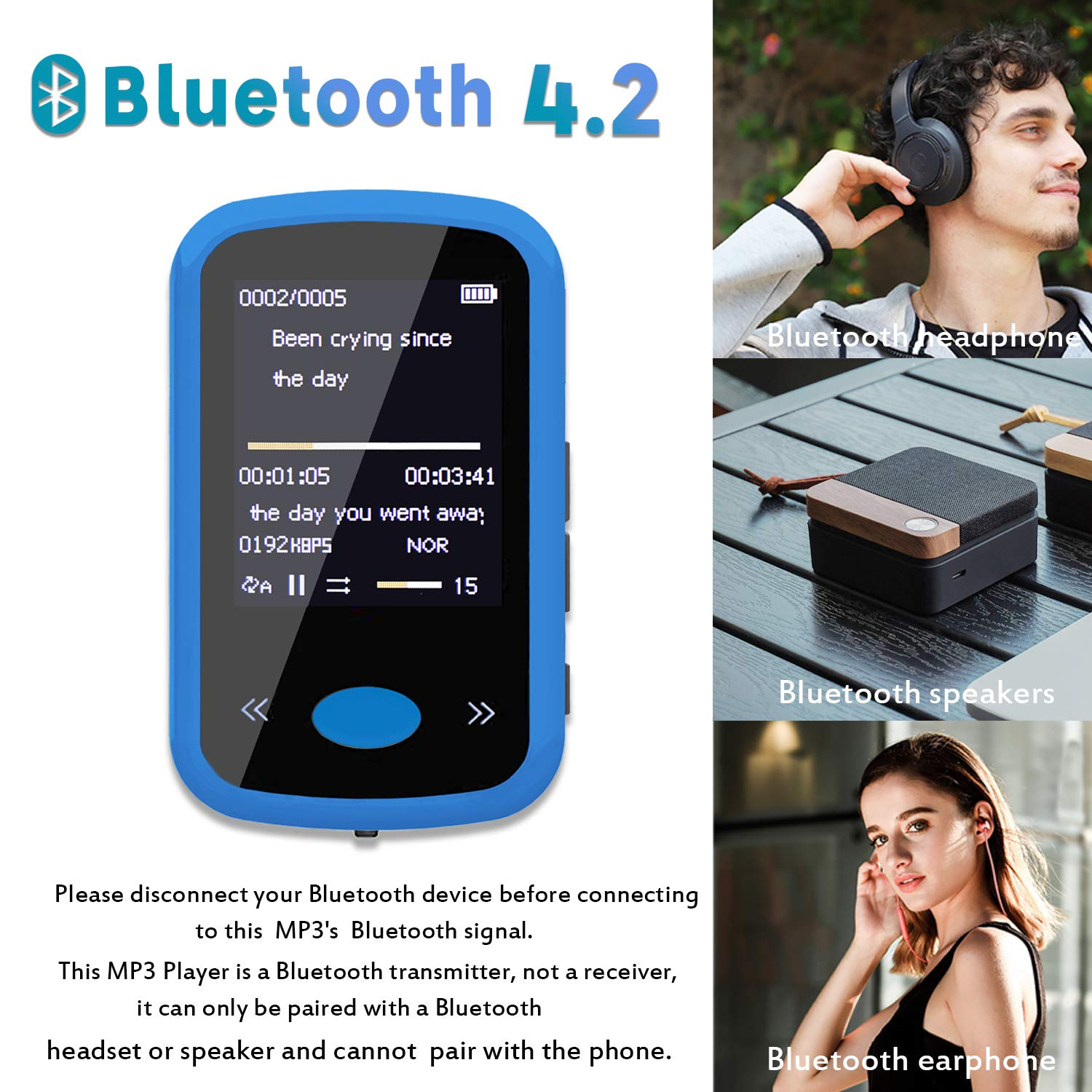 Portable Lossless Sound Music Player with Headphones FM Radio Pedometer,Voice Recorder 8GB Blue Alexan 8GB MP3 Player with Bluetooth 4.2 Wearable MP3 Player with Clip