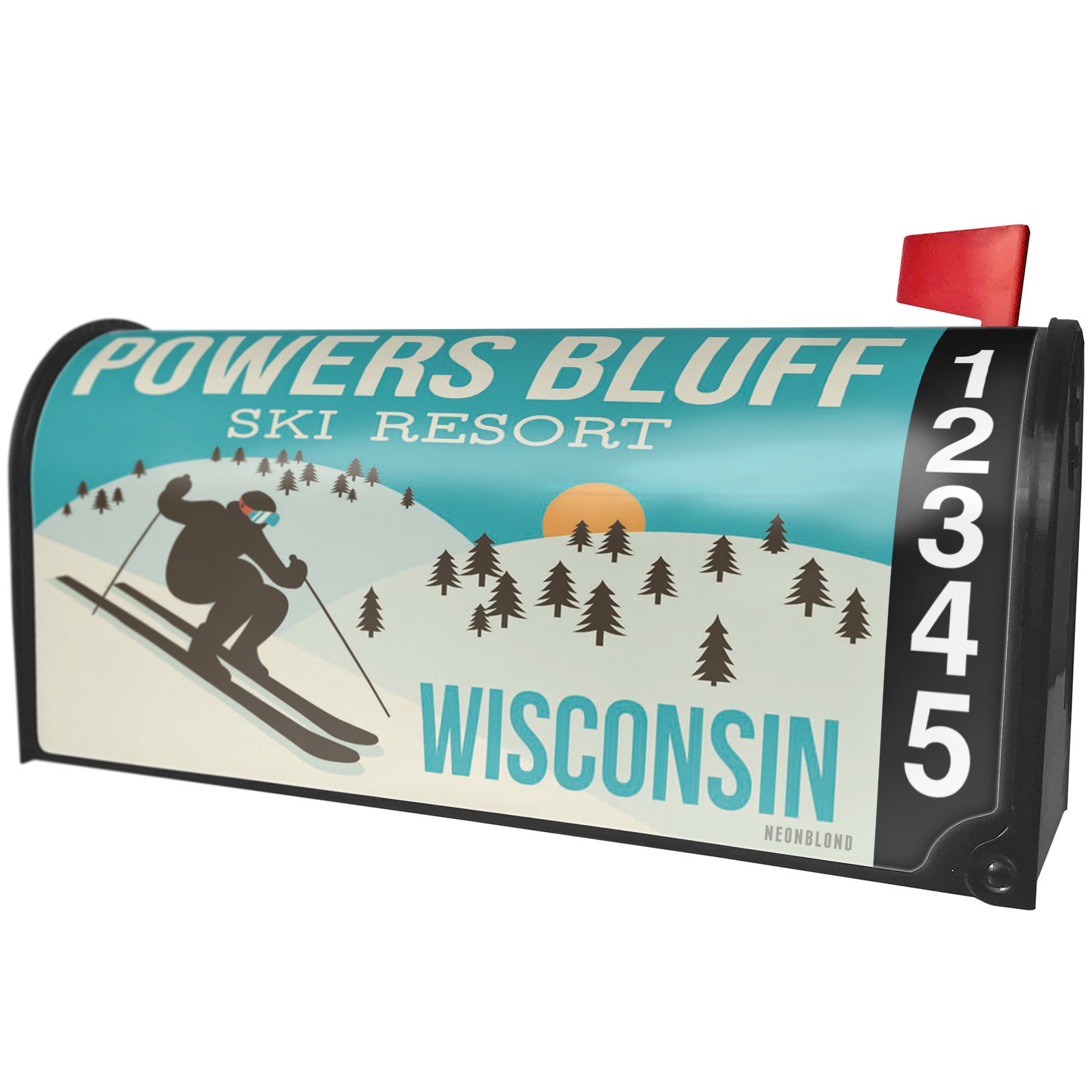 NEONBLOND Powers Bluff Ski Resort - Wisconsin Ski Resort Magnetic Mailbox Cover Custom Numbers