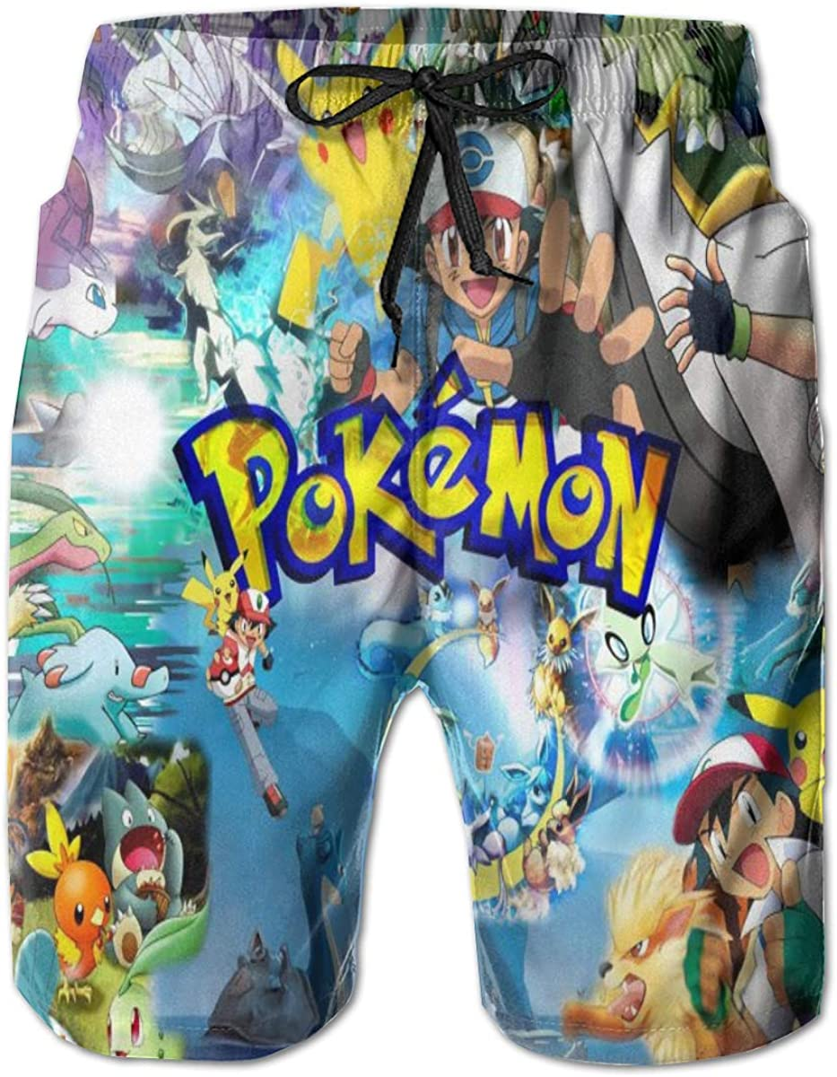 LinsSone Mens Pokemon Pikachu Beach Shorts Quick-Drying Casual Shorts with Pockets