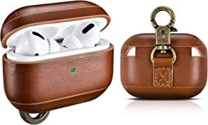 Airpods Pro Case Leather with Keychain, Genuine Leather Portable Protective Dust Guard Shockproof Skin Cover for Apple Airpods Pro 3 Earbuds Cases Men Women Support Wireless Charging (Brown)