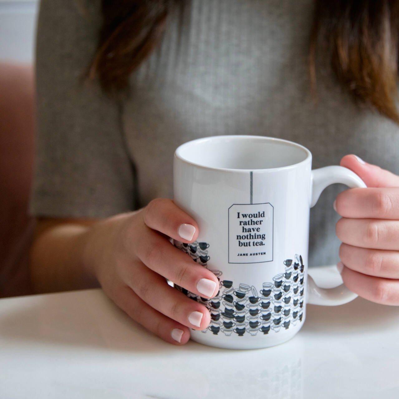 ''Nothing but tea'' Jane Austen Mug, Literary Quote