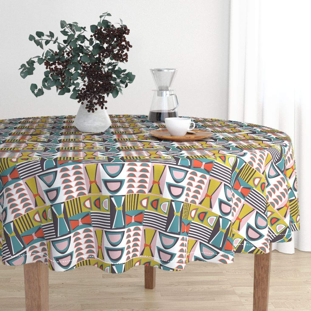 Roostery Round Tablecloth - 60S Lounge Eames Chairs Colors Atomic 50S Modern Vessels Mid Century Modern by Ameemax - Cotton Sateen Tablecloth 70in