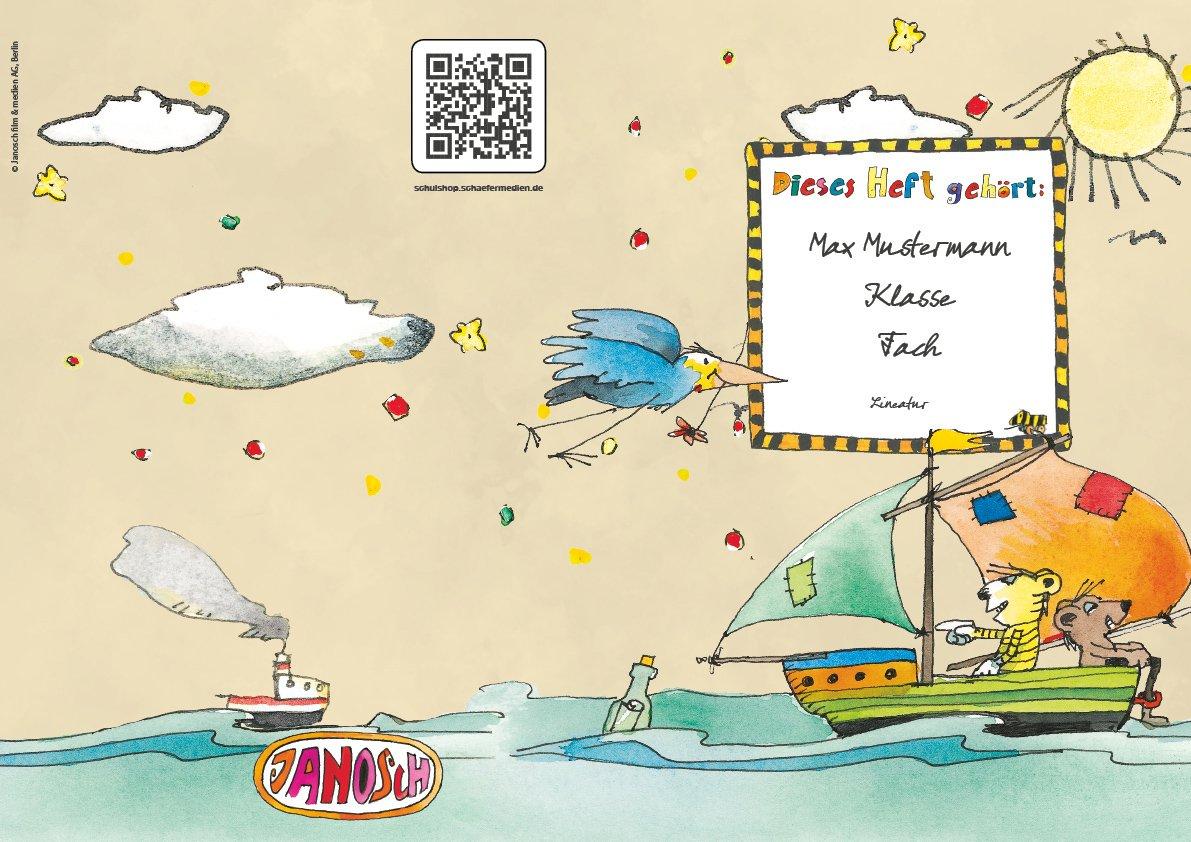 24 lustige JANOSCH-Schulhefte A4, »Spannende Seefahrt«, Lineatur 28, Pistaziengelb, personalisierbar, 32 Seiten B076SDKN8P | Guter Markt  | Schöne Farbe  | Verkaufspreis