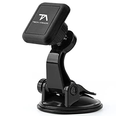 Tech Armor Universal Magnetic Car Mount, Windshield Suction Cup, for iPhone, Galaxy, Google, LG and More - Black: Electronics