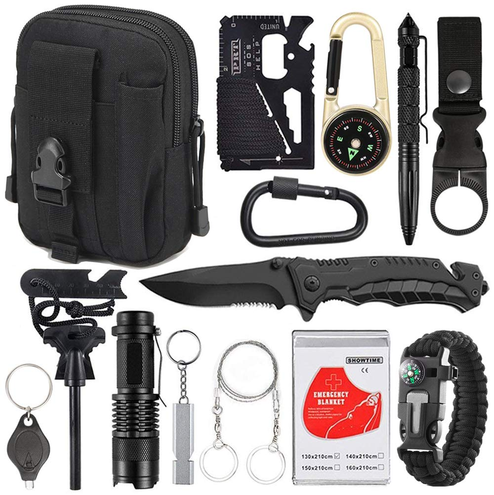 XUANLAN Emergency Survival Kit 15 in 1, Outdoor Survival Gear Tool with Survival Bracelet, Fire Starter, Whistle, Wood Cutter, Water Bottle Clip, Tactical Pen (Black) by XUANLAN
