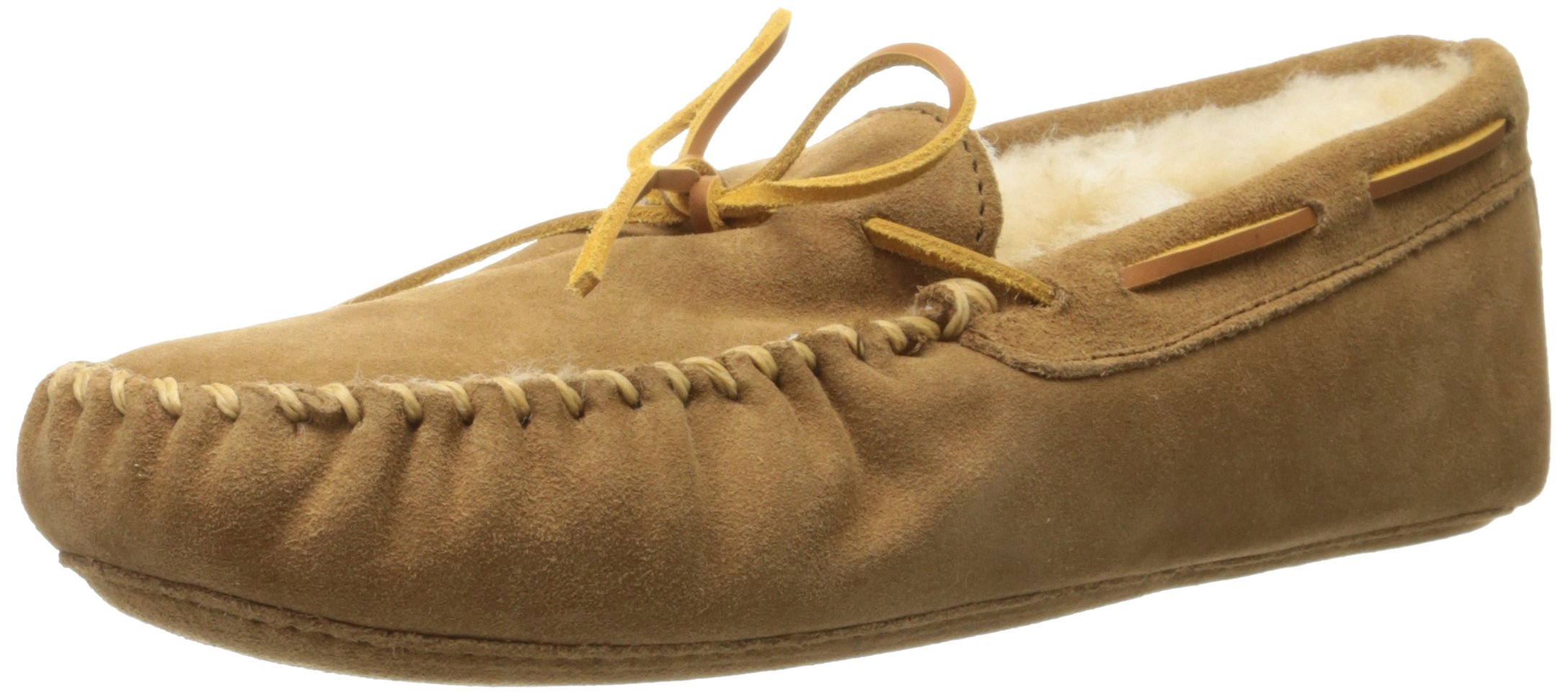 Minnetonka Men's Golden Tan Sheepskin Softsole Moccasin 12 D(M) US