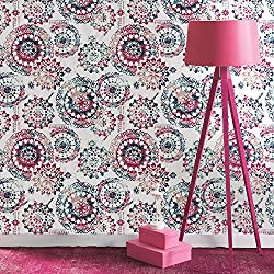 "RoomMates RMK9125WP Bohemian Peel and Stick Wallpaper, 20.5"" x 16.5 feet, Pink/Blue"
