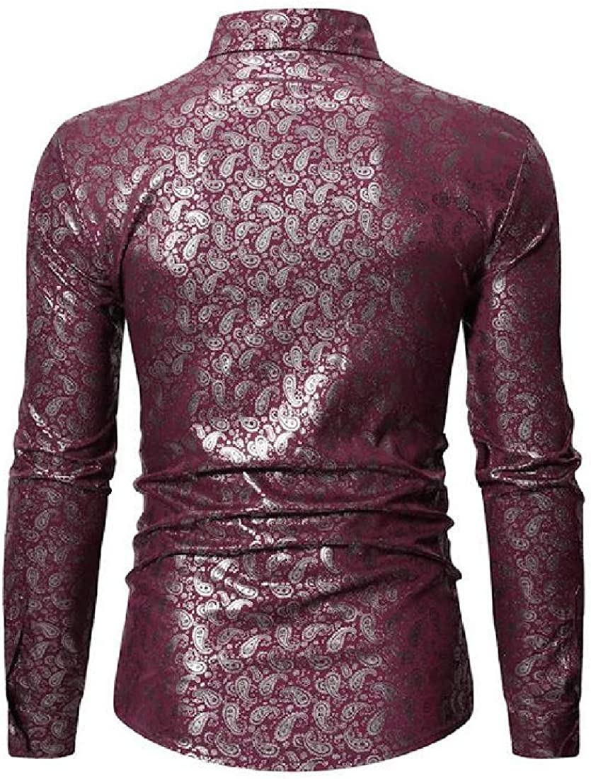 Fensajomon Mens Lapel Neck Long Sleeve Printed Slim Fit Casual Business Button Up Dress Shirt