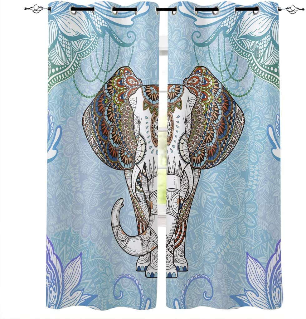 Amazon Com Onehoney Blackout Curtains For Bedroom Indian Mandala Floral Elephant Grommet Thermal Insulated Window Treatments Abstract Art Home Decoration Drapes Set Of 2 Panels 52x96inx2 Home Kitchen