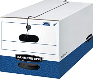Bankers Box LIBERTY Heavy-Duty Storage Boxes, FastFold, String and Button, Letter, Case of 12 (00011)