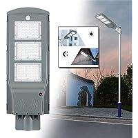 Hobaca Aluminio 4000LM 60W LED Solar Farola Iluminación exterior Luz del sensor de movimiento Dusk to Dawn para Calle…