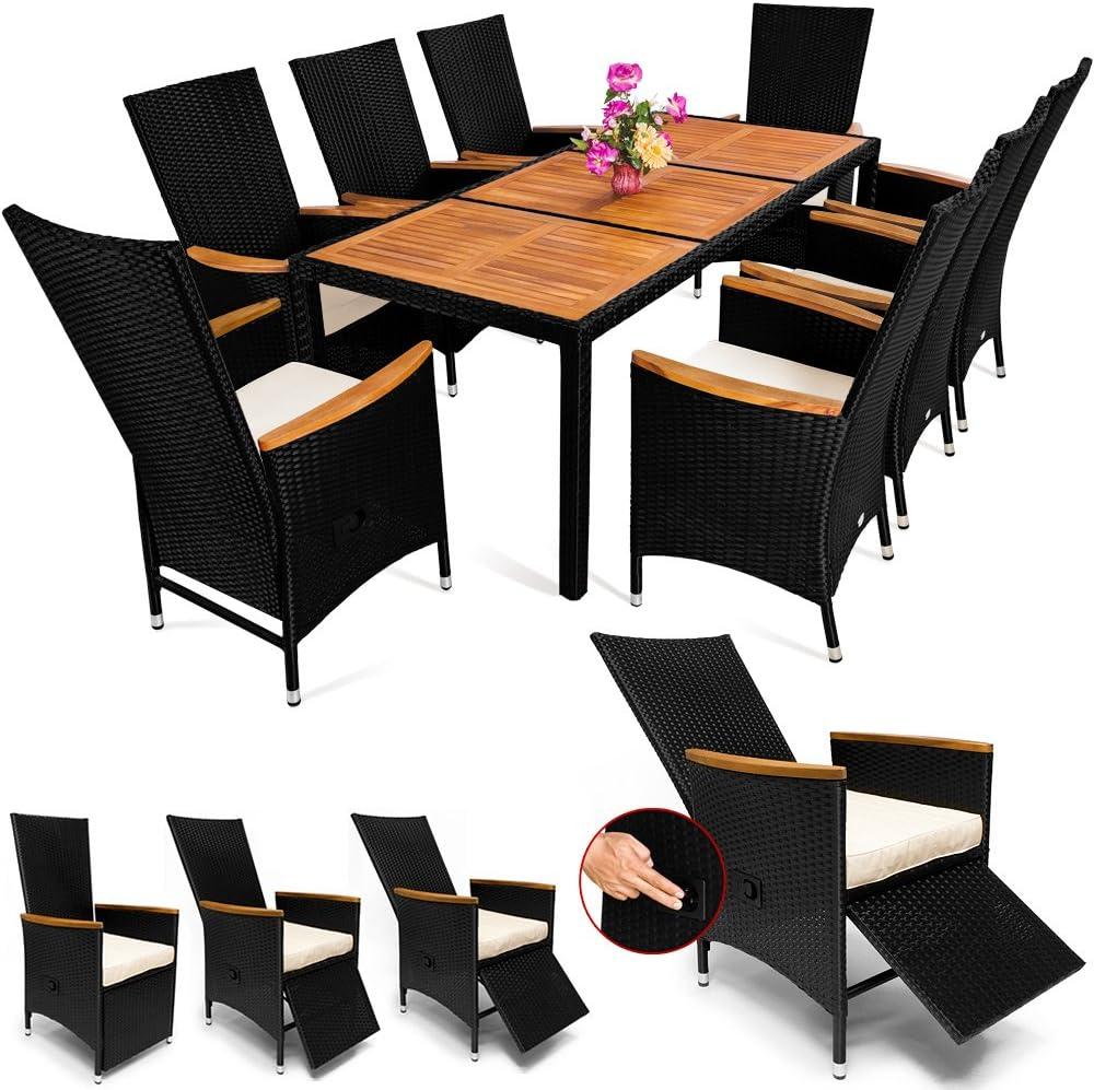 Deuba Casaria Poly Rattan Sitzgruppe 8+1 7cm Dicke Auflagen Tischplatte & Armlehnen Holz neigbare Fuß-/ Rückenlehnen Set Schwarz