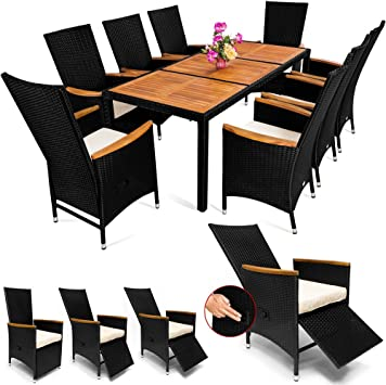 Rattan Garden Furniture Dining Table and Chairs Set Black 8 ...