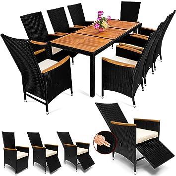 Deuba | Salon de jardin - Ensemble 8+1 • noir, polyrotin | 8 chaises  inclinables • table + accourdoirs en acacia • résistant aux intempéries |  Meuble, ...