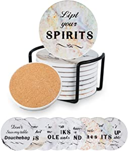Kendiis Funny Coasters for Drinks Absorbent with Holder, 8pcs Ceramic Stone Coaster, Housewarming Hostess Gifts for New Home, Christmas, Wedding Registry, Living Room Decorations