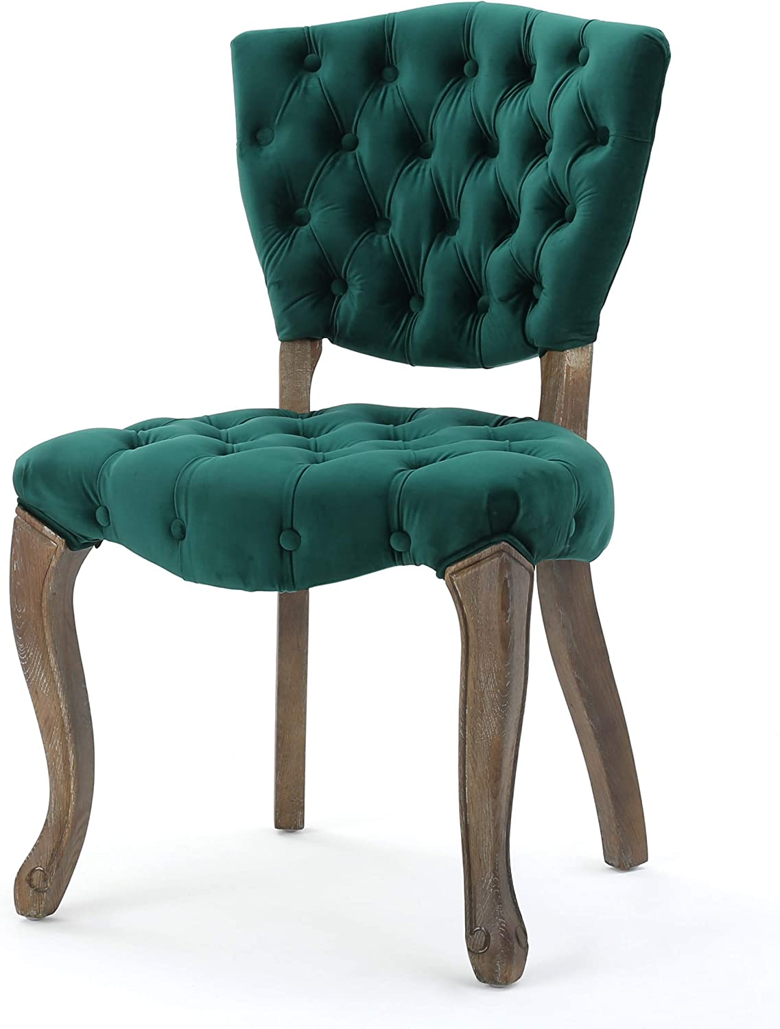 Amazon Com Christopher Knight Home Bates Tufted Velvet Fabric Dining Chairs 2 Pcs Set Dark Green Chairs