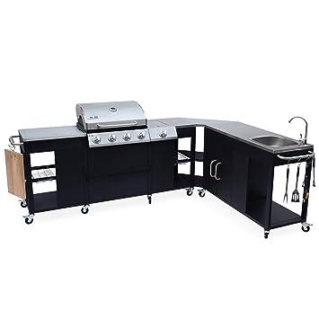Alices Garden - Barbacoa de gas, cocina de exterior, Negro, 5 quemadores,