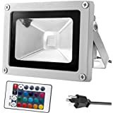 Warmoon 10W Waterproof LED Flood Light with US 3-Plug and Remote, RGB