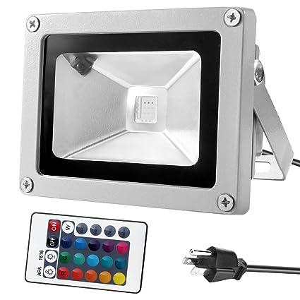 Warmoon 10W Waterproof LED Flood Light with US 3Plug and Remote