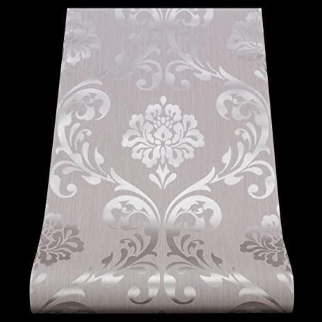 Damask Wallpaper Textured Vinyl Metallic Shiny Silver Off White Grey By P S International