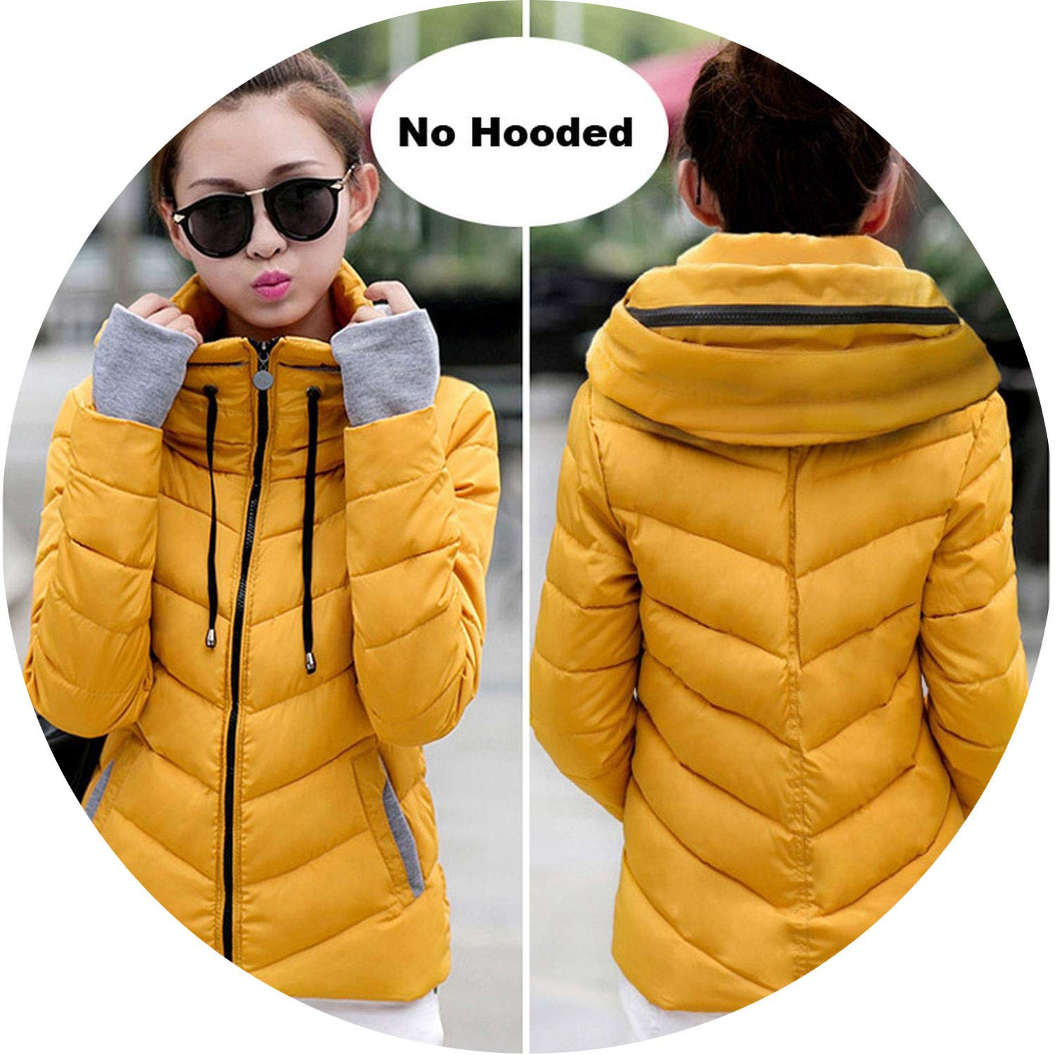 Dark yellow Be fearless 2019 Winter Jacket Women Plus Size Womens Parkas Thicken Outerwear Solid Hooded Coats