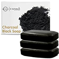 Activated Charcoal Black Bar Soap. W/Peppermint Oil Detoxifying Body Soap Organic Shea Butter Vegan 100% Natural Face…