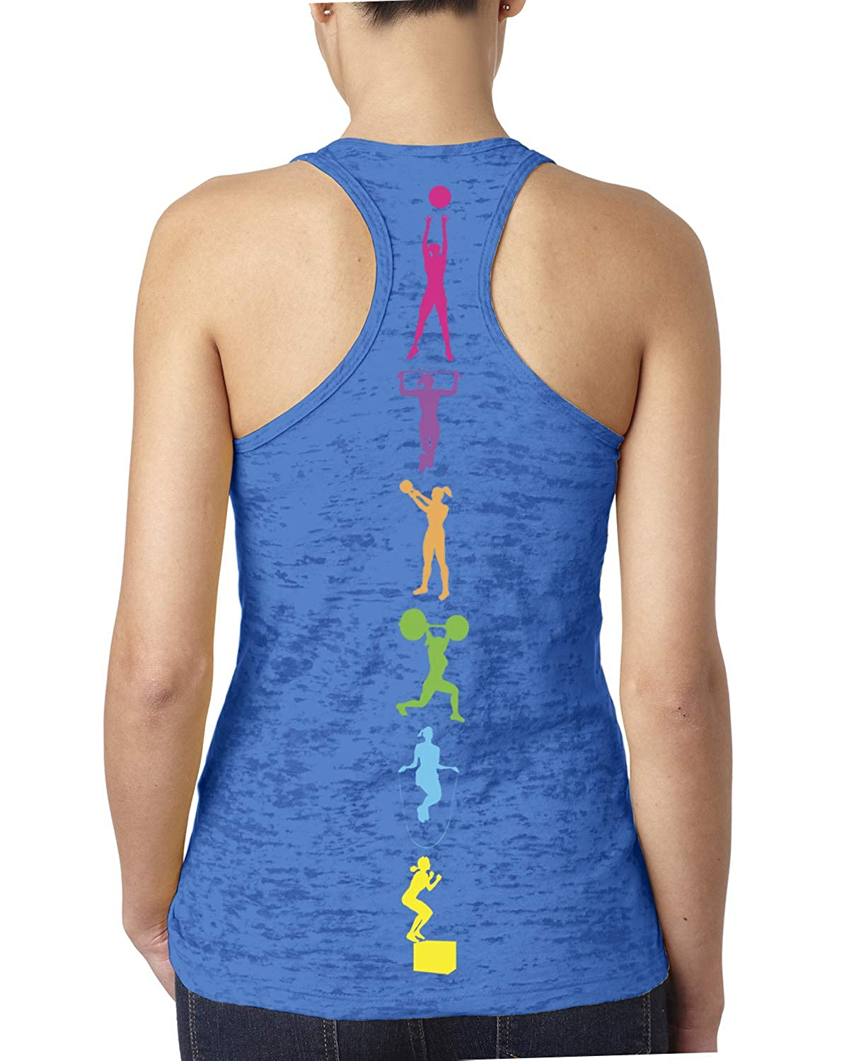 Womens Colorful Workout Lifting Fitness Moves Burnout Tank Top