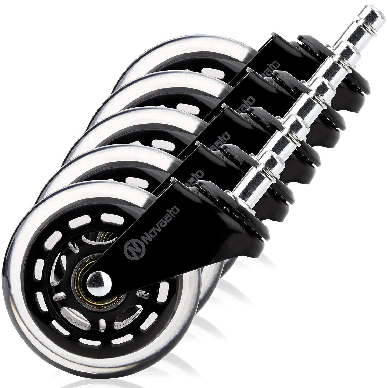 NOVAATO - Set di 5 rotelle per Sedia da Ufficio, silenziose e scorrevoli, Ideali per Il parquet