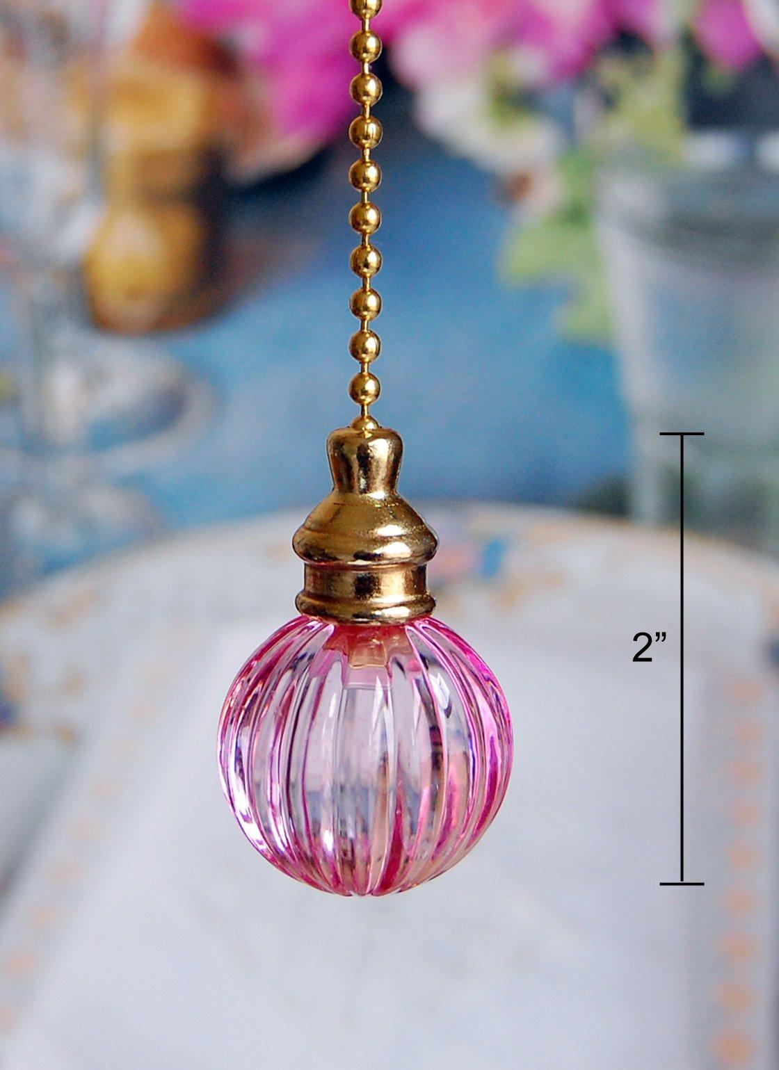 2 of Gorgeous Pink Crystal Pumpkin Ceiling Lighting Fan Pulls