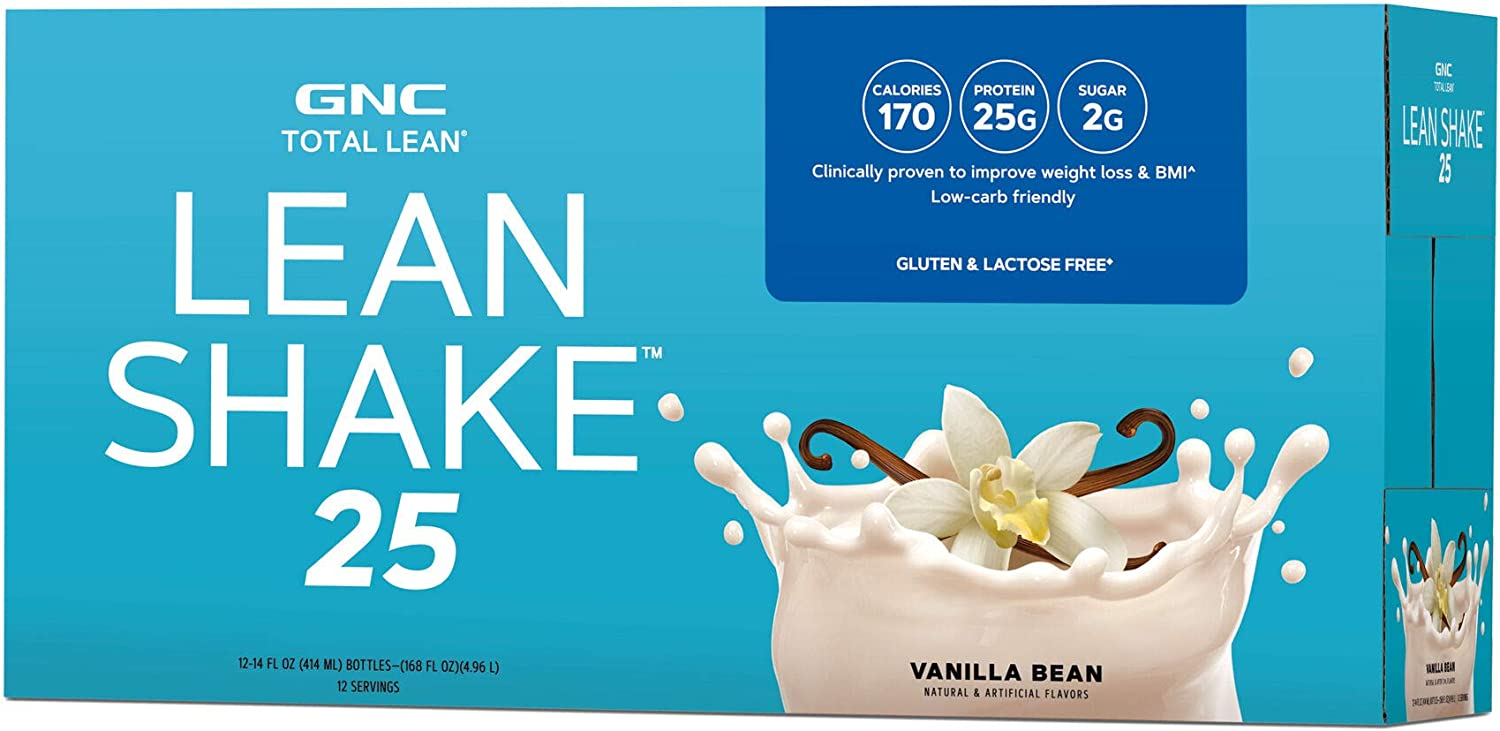 GNC Total Lean Lean Shake with 25g of Protein in just 170 Calories, Vanilla Bean 12 servings