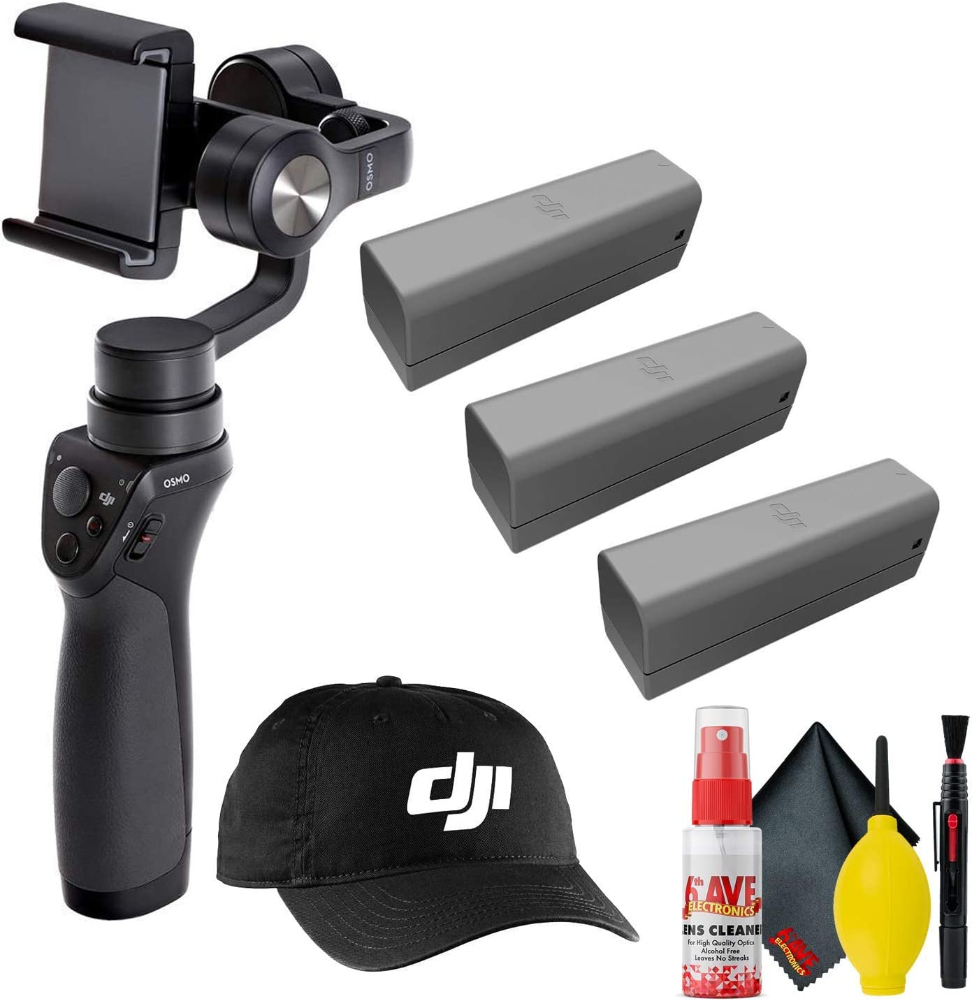 Cleaning Kit - Cleaning Cloth 3 Total Black DJI Osmo Mobile Gimbal Stabilizer More - Osmo Intelligent Batteries DJI Baseball Cap