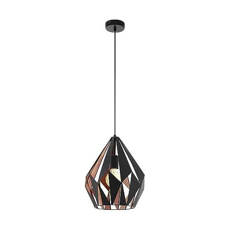 EGLO - Lámpara de techo 49254 de Carlton. Acero 1 E27. Color: Negro/cobre