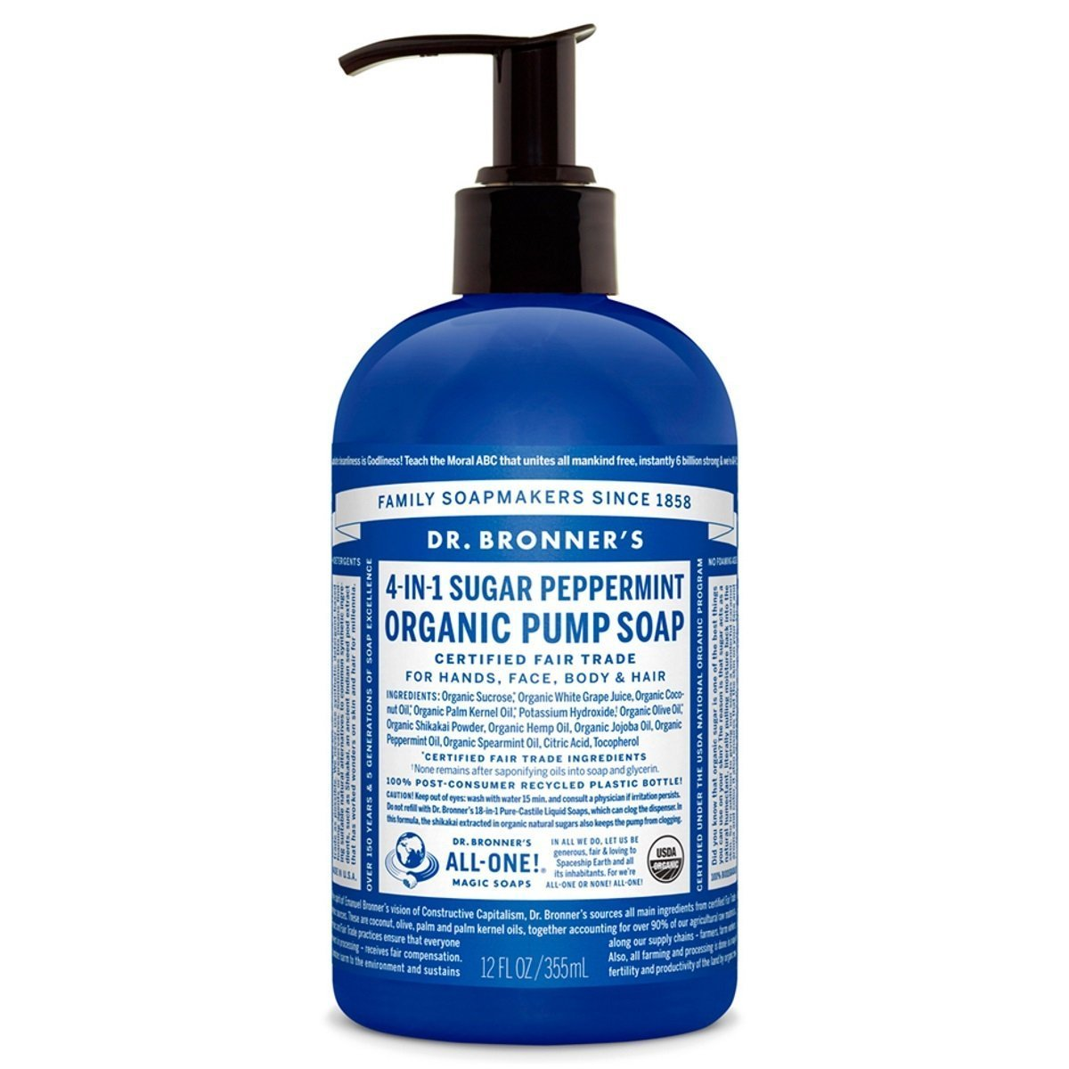 Dr. Bronner's Magic soap peppermint hand soap, 12 Ounce Dr. Bronner' s