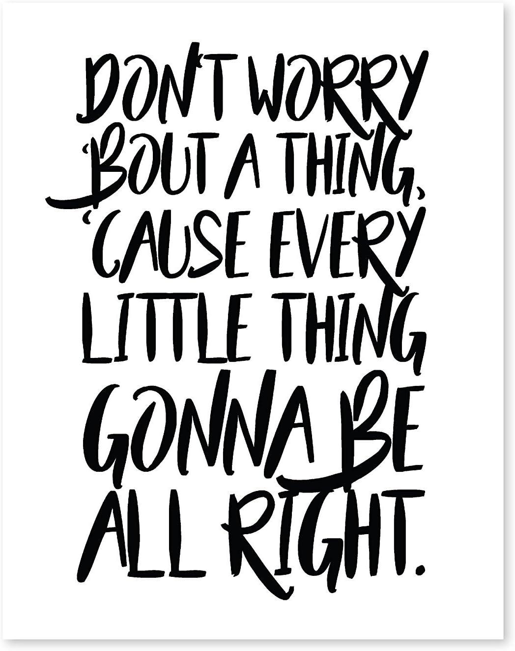 Don't Worry Bout a Thing, 08x10 Inch Print, Motivational Print, Don't Worry Bob Marley, Typography Art, Bob Marley Lyrics, Three Little Birds Lyrics, Bob Marley Song, Don't Worry, Positive Quotes