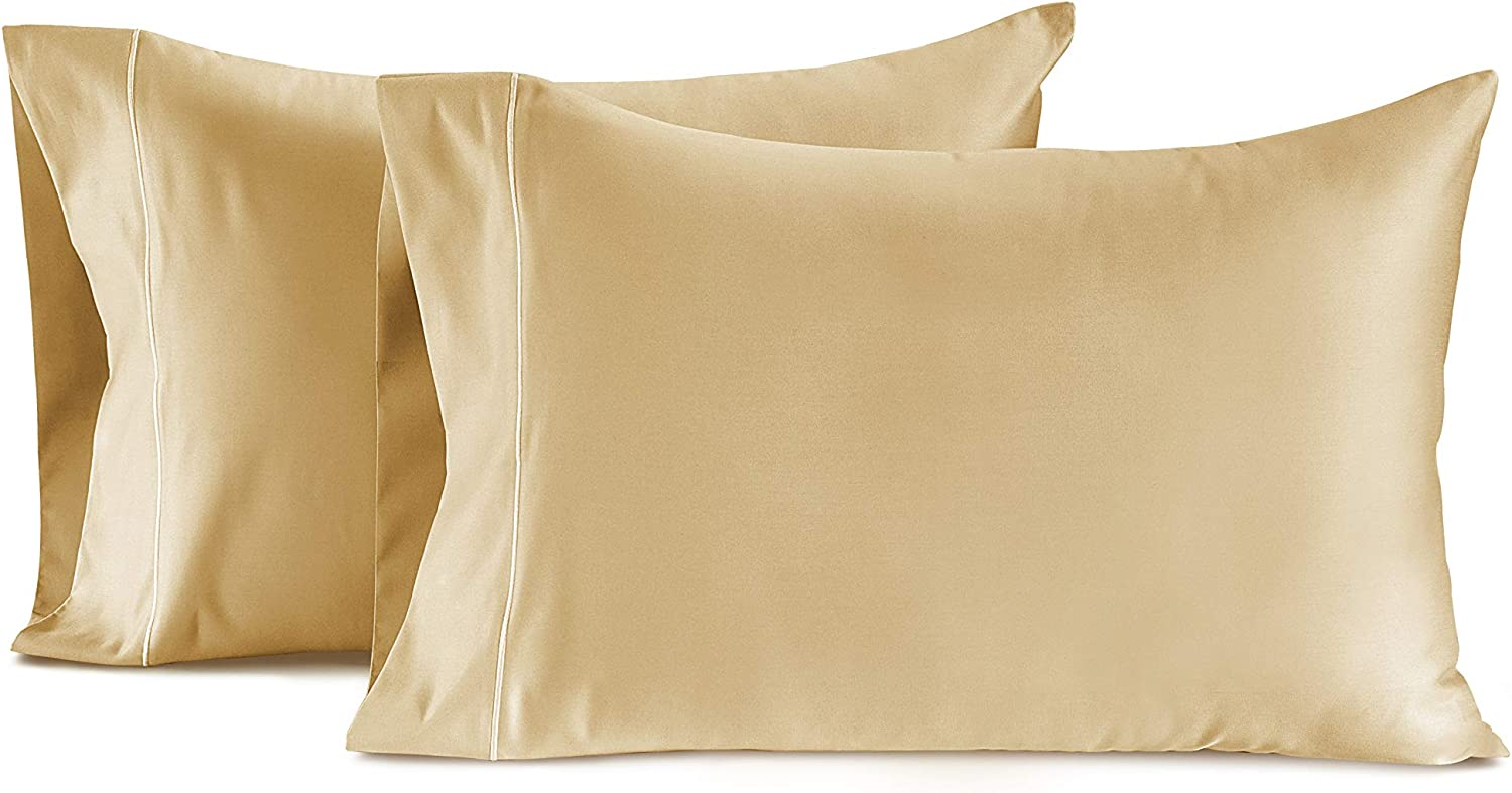 CHATEAU HOME COLLECTION 100% Egyptian Cotton Set of 2 Standard Pillowcases 800 Thread Count Solid Sateen Weave Hotel Luxury Premium Wrinkle Free Super Soft Comfort Bedding (Standard, Semolina)