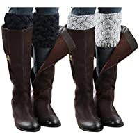 Jiuhexu 5 Pairs Women Winter Warm Crochet Knitted Boot Cuff Socks Short Leg Warmers