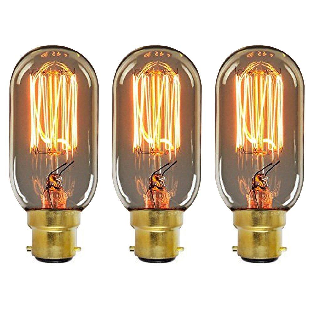 ONEPRE 3 Pack BC B22 Bayonet Vintage Edison light bulb 60W Dimmable Filament Light Bulbs Retro old fashioned Shenzhenshi fanmu shangpin jiaju youxiangongsi