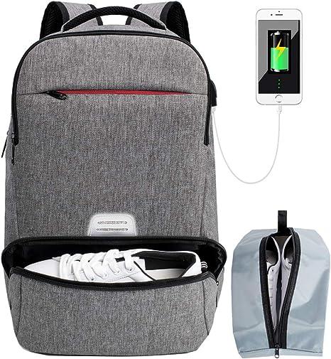 Mochila de Viaje para Ordenador portátil, antirrobo, Resistente al Agua, con Puerto de Carga USB para portátil de 17 Pulgadas Gris Gris