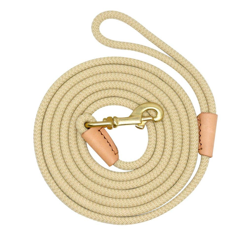 LOVESHI Durable Dog Tracking Leash Nylon Long Leads Rope Pet Training Walking Leashes 3M 5M 10M 20M for Medium Large Dogs Non-Slip Beige 20m
