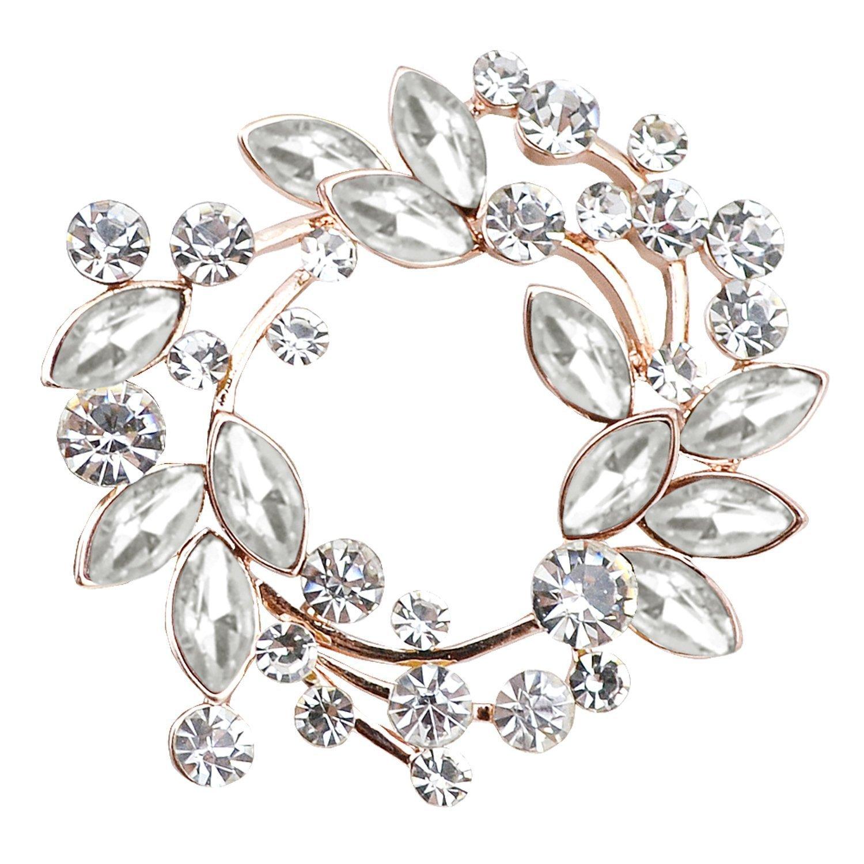 Gyn&Joy Clear Crystal Rhinestone Floral Wreath Pin Brooch BZ005 (Crystal) by Gyn&Joy (Image #1)