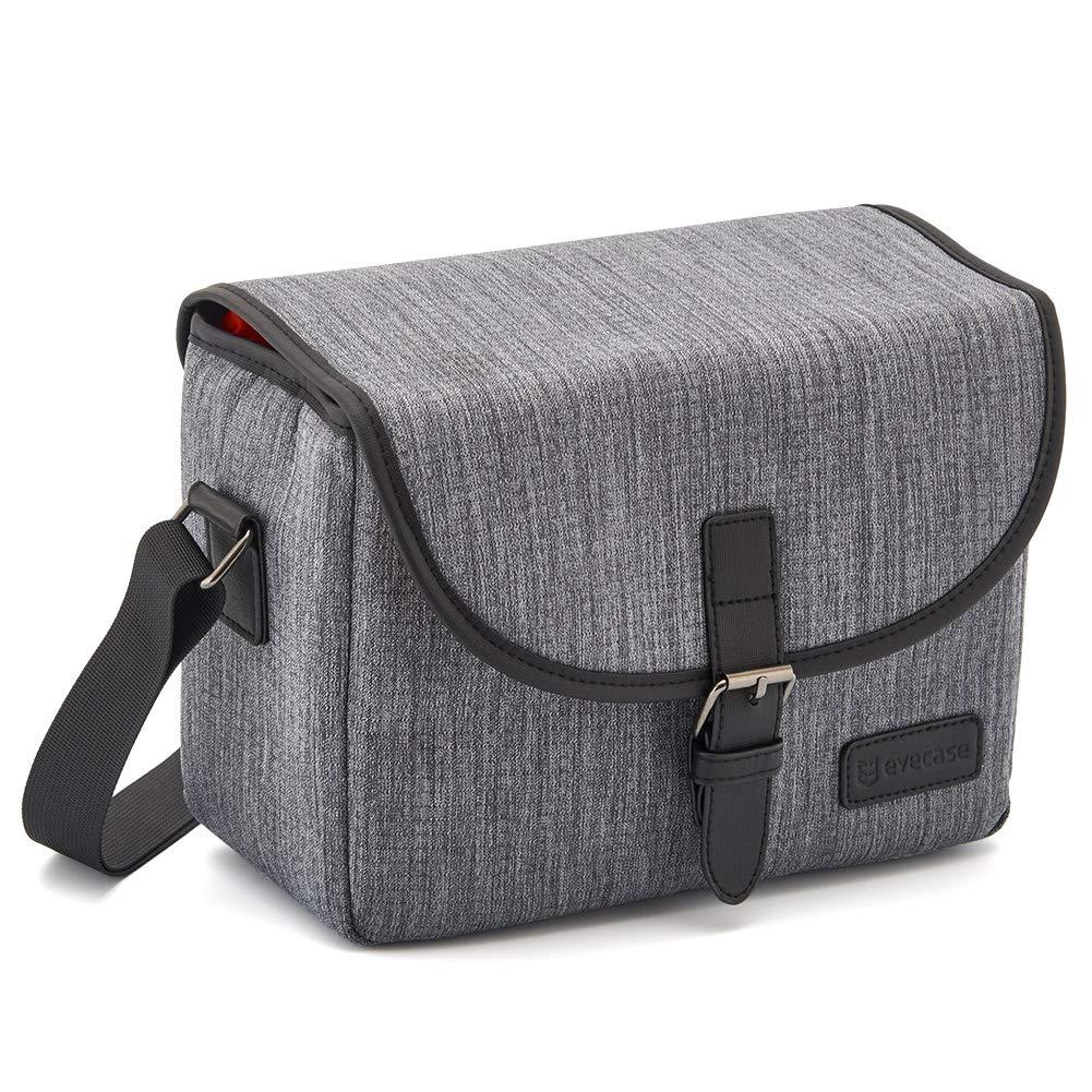Medium DSLR Gadget Bag, Evecase Water Resistant Shockproof SLR Messenger Shoulder Case Bag for Mirrorless, Micro 4/3, Compact System, High Zoom Digital Camera - Gray 885157001465